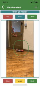 See Something Say Something - Annotated Picture of a Fire-extinguisher dropped on the floor