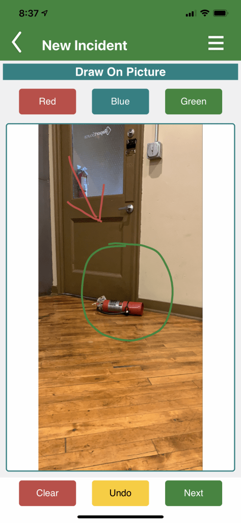 Near Miss - Annotated Image of a Fire-extinguisher