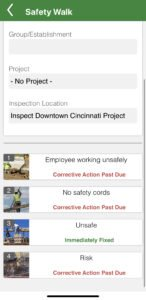 Picture of a iReportSource mobile app, showing how to assign a corrective action while performing a safety walk