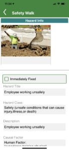 Safety Walk on mobile - identified hazard and documented information